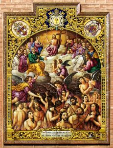 El retablo cerámico de las Ánimas Benditas del Purgatorio, de la Parroquia de San Pedro