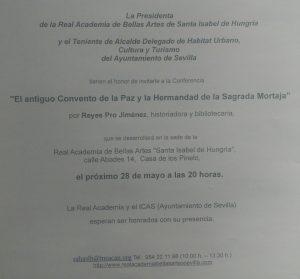 """Conferencia """"El antiguo Convento de la Paz y la Hermandad de la Sagrada Mortaja"""""""